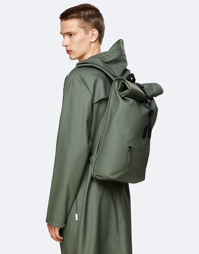 Rains Backpack Rolltop Rucksack Olive