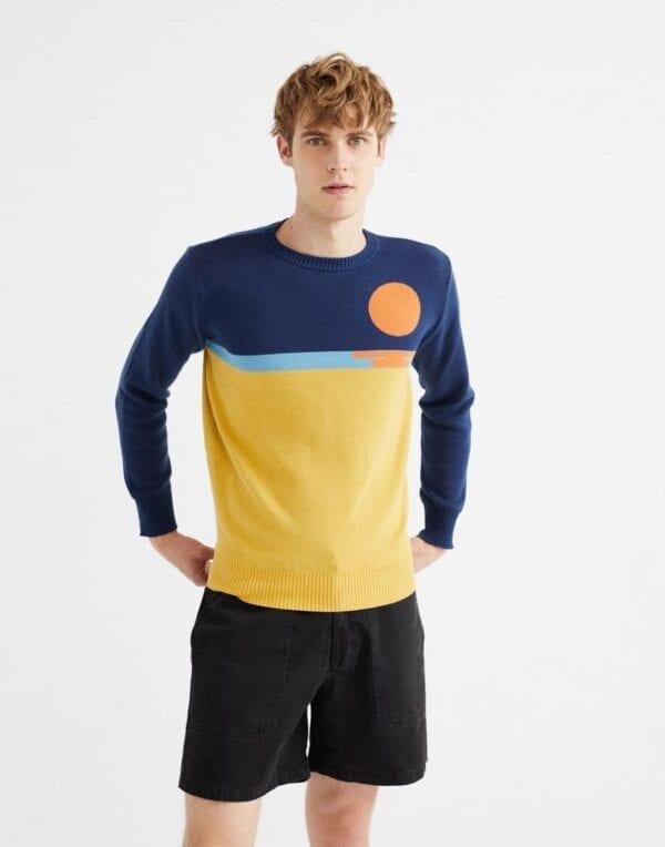 Thinking MU Men Sunset Trash Knitted Sweater
