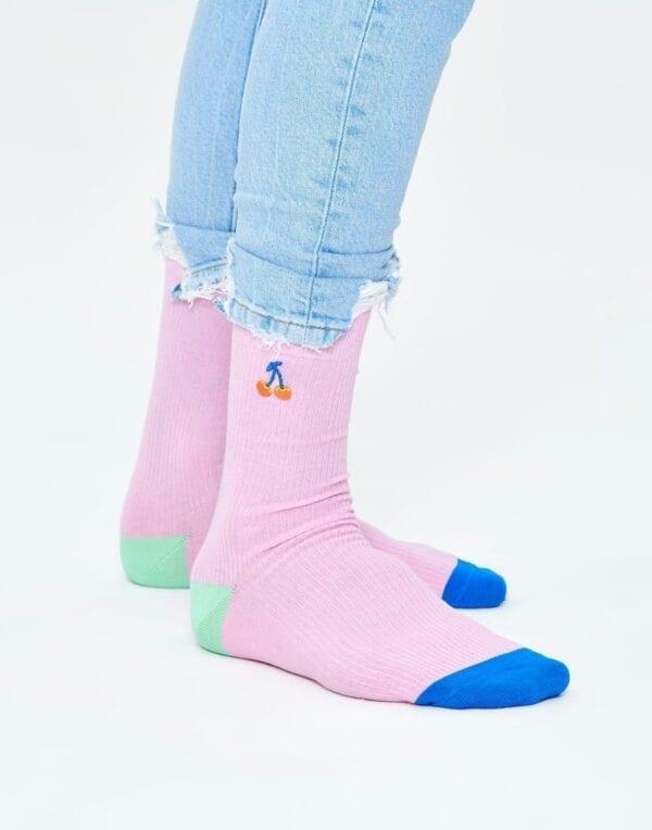 SokidRibbed Embroidery Cherry Sock