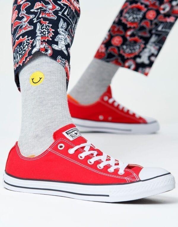 SokidRibbed Embroidery Smiley Sock