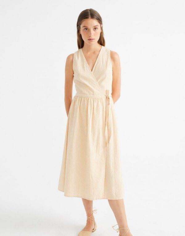 Thinking MU Women Seersucker Amapola Midi Wrap Dress