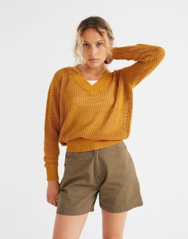 Thinking MU Women Mustard Willow Mesh Sweater