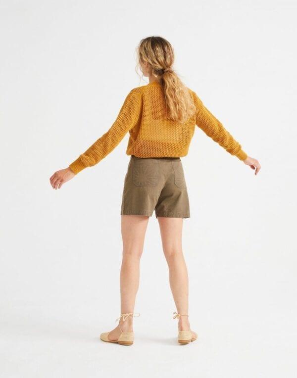 Thinking MU Naised Kampsunid ja pusad Mustard Willow Mesh Sweater