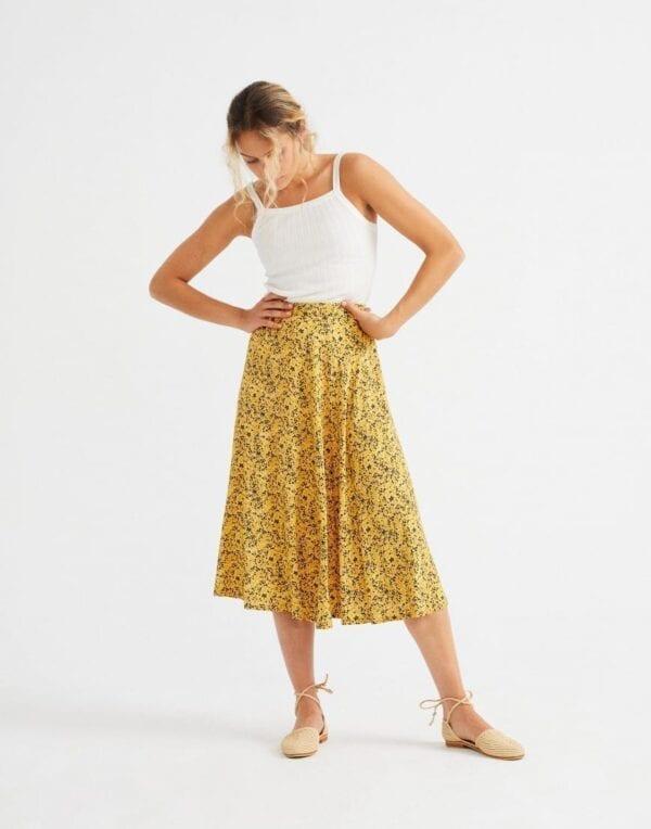 Thinking MU Women Multiflowers Mustard Lavanda Skirt