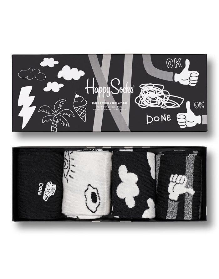 Happy Socks Gift Boxes  4-Pack Black And White Socks Gift Set XBWH09-9100